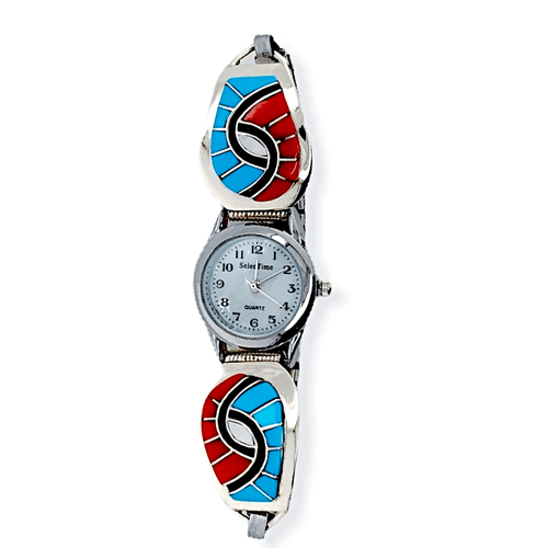 Native American Bracelet - Zuni Sleeping Beauty Turquoise And Coral Swirl Inlay Women's Watch - Amy Quandelacy