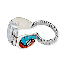 Load image into Gallery viewer, Native American Bracelet - Zuni Sleeping Beauty Turquoise And Coral Swirl Inlay Women's Watch - Amy Quandelacy