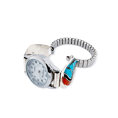 Image of Native American Bracelet - Zuni Sleeping Beauty Turquoise And Coral Swirl Inlay Women's Watch - Amy Quandelacy