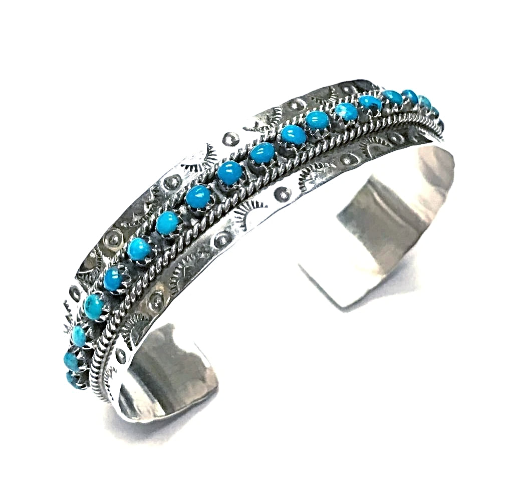 Native American Bracelet - Zuni Sleeping Beauty Turquoise Dotted Row Cuff Bracelet