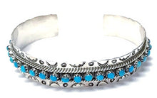 Load image into Gallery viewer, Native American Bracelet - Zuni Sleeping Beauty Turquoise Dotted Row Cuff Bracelet