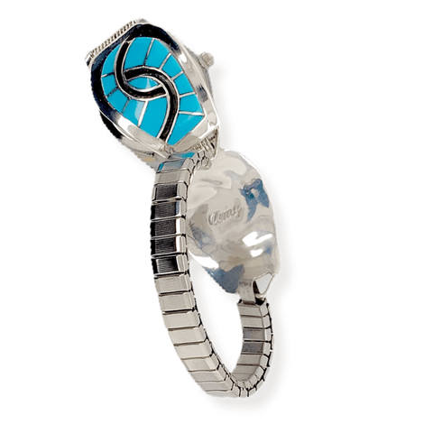 Native American Bracelet - Zuni Sleeping Beauty Turquoise Swirl Inlay Women's Watch - Amy Quandelacy