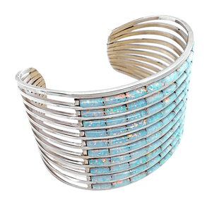 Native American Bracelet - Zuni Ten Row Inlay Created Opal Bracelet