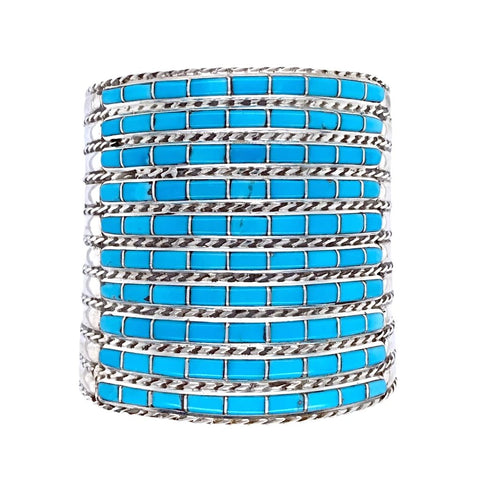 Image of Native American Bracelet - Zuni Ten Row Inlay Turquoise Cuff Bracelet - Native American