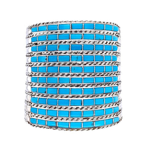 Native American Bracelet - Zuni Ten Row Inlay Turquoise Cuff Bracelet - Native American
