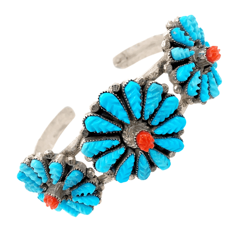 Native American Bracelet - Zuni Turquoise & Coral Inlay Three Blossom Pawn Bracelet