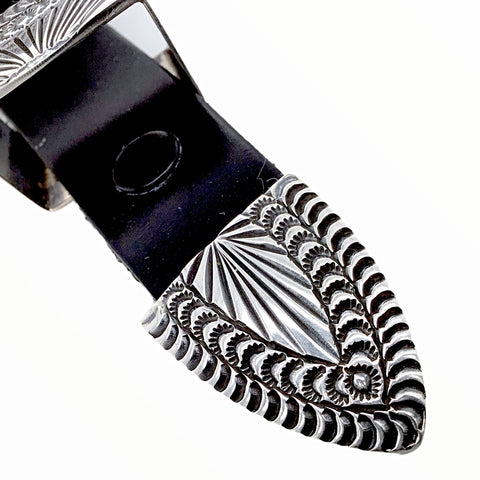 Native American Buckle - Navajo Engraved Sterling Silver Ranger Belt Buckle & Loop Attachment - June Defarito - Native American