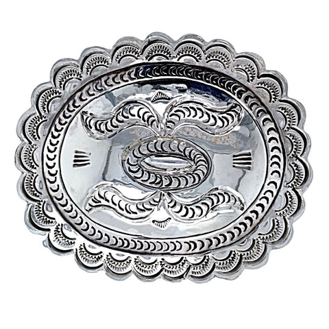 Image of Native American Buckle - Navajo Hand Stamped Sterling Silver Belt Buckle - Carson Blackgoat - Native American