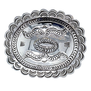 Native American Buckle - Navajo Hand Stamped Sterling Silver Belt Buckle - Carson Blackgoat - Native American