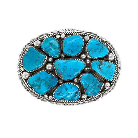 Image of Native American Buckle - Navajo Kingman Turquoise Cluster Stamped Sterling Silver Belt Buckle - Marie Thompson - Native American