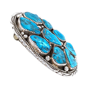 Native American Buckle - Navajo Kingman Turquoise Cluster Stamped Sterling Silver Belt Buckle - Marie Thompson - Native American