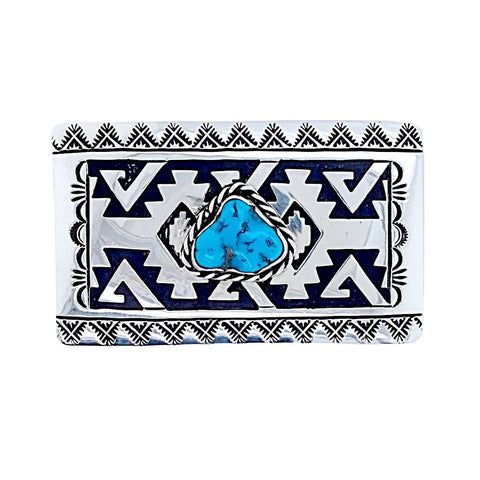 Native American Buckle - Navajo Kingman Turquoise Engraved Sterling Silver Belt Buckle - T & R Singer - Native American