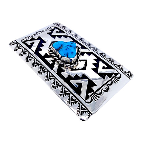 Image of Native American Buckle - Navajo Kingman Turquoise Engraved Sterling Silver Belt Buckle - T & R Singer - Native American