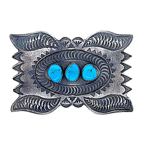 Native American Buckle - Navajo Kingman Turquoise Hand-Stamped Embellished Silver Belt Buckle - Shawn Cayatineto - Native American