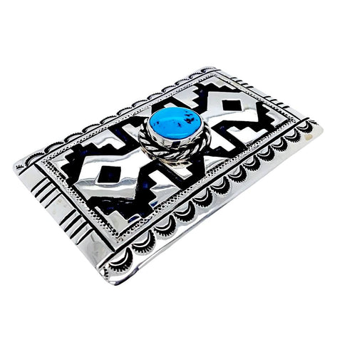Native American Buckle - Navajo Oval Kingman Turquoise Engraved Sterling Silver Belt Buckle - T & R Singer - Native American