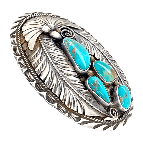 Image of Native American Buckle - Navajo Pawn Teal Turquoise Cluster Feather Belt Buckle