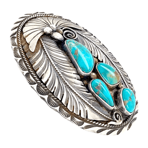 Native American Buckle - Navajo Pawn Teal Turquoise Cluster Feather Belt Buckle