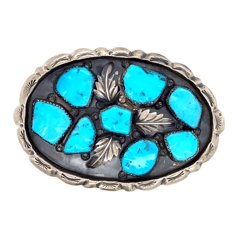 Image of Native American Buckle - Navajo Pawn Turquoise Cluster Leaf Belt Buckle