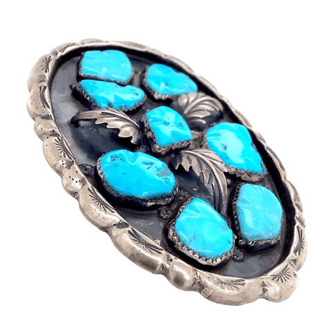 Native American Buckle - Navajo Pawn Turquoise Cluster Leaf Belt Buckle