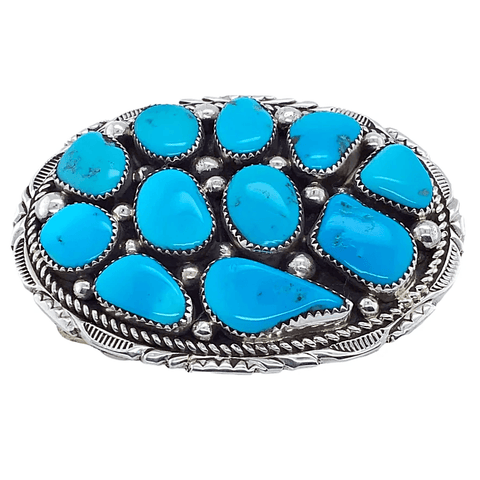 Native American Buckle - Navajo Sleeping Beauty Turquoise Cluster Belt Buckle