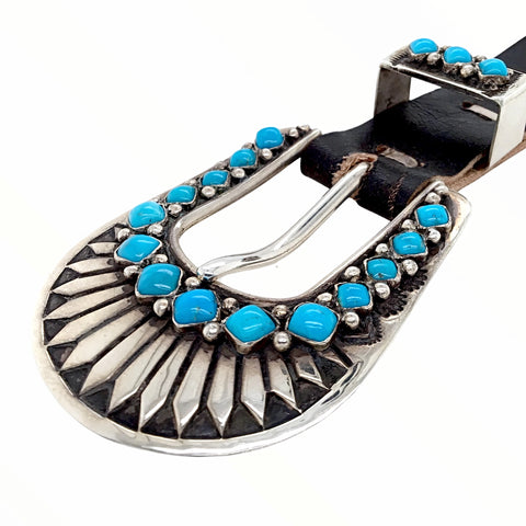 Image of Native American Buckle - Navajo Sleeping Beauty Turquoise Engraved Sterling Silver Ranger Belt Buckle & Loop Attachment - Frank Armstrong - Native American