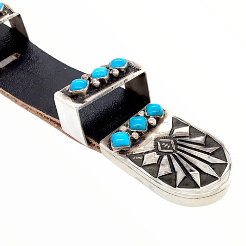 Native American Buckle - Navajo Sleeping Beauty Turquoise Engraved Sterling Silver Ranger Belt Buckle & Loop Attachment - Frank Armstrong - Native American