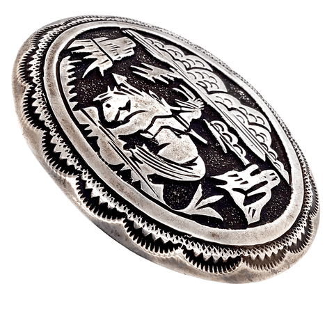 Native American Buckle - Navajo Storyteller  Landscape Sterling Silver Belt Buckle - Tommy Singer