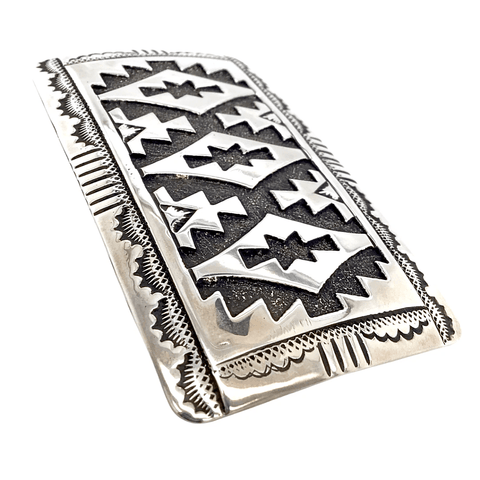 Image of Native American Buckle - Navajo Traditional Style Sterling Silver Belt Buckle - Tommy Singer