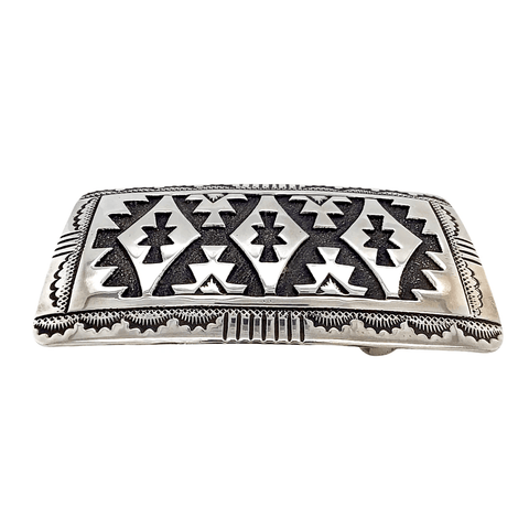 Native American Buckle - Navajo Traditional Style Sterling Silver Belt Buckle - Tommy Singer