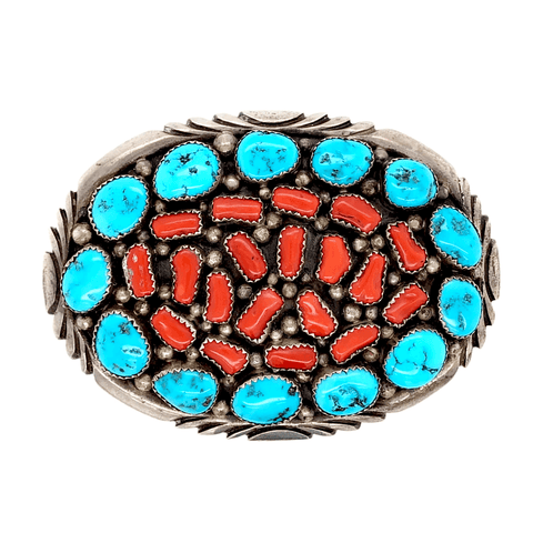 Image of Native American Buckle - Navajo Turquoise And Red Coral Cluster Belt Buckle - Emer Thompson