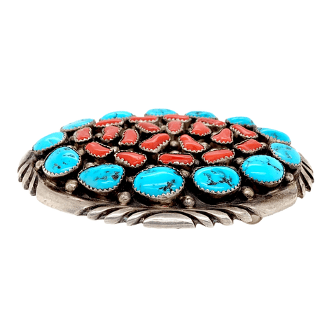 Native American Buckle - Navajo Turquoise And Red Coral Cluster Belt Buckle - Emer Thompson