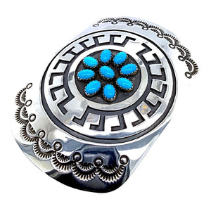 Native American Buckle - Navajo Turquoise Engraved Sterling Silver Belt Buckle - Rosco Scott - Native American