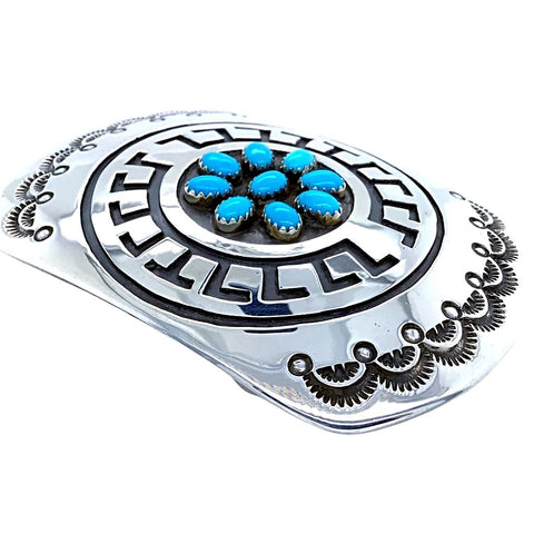 Image of Native American Buckle - Navajo Turquoise Engraved Sterling Silver Belt Buckle - Rosco Scott - Native American