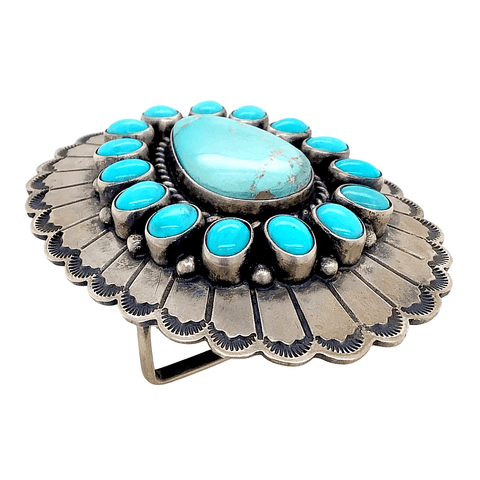 Image of Native American Buckle - Navajo Turquoise Teardrop Blossom Belt Buckle
