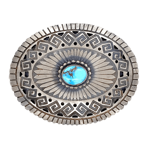 Image of Native American Buckle - Navajo Turquoise Teardrop Ojo Belt Buckle - Paul Livingstone