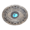Native American Buckle - Navajo Turquoise Teardrop Ojo Belt Buckle - Paul Livingstone