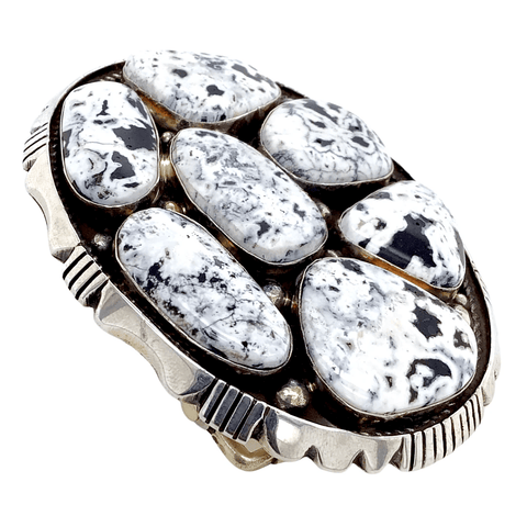 Native American Buckle - Navajo White Buffalo Cluster Belt Buckle - Emer Thompson
