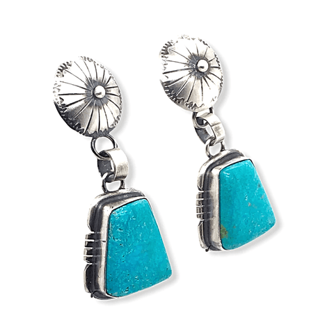 Native American Earrings - Abstract Shaped Kingman Turquoise Post Earrings - Samson Edsitty