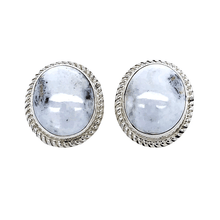 Load image into Gallery viewer, Native American Earrings - Classic Oval White Buffalo Post Earrings - Navajo