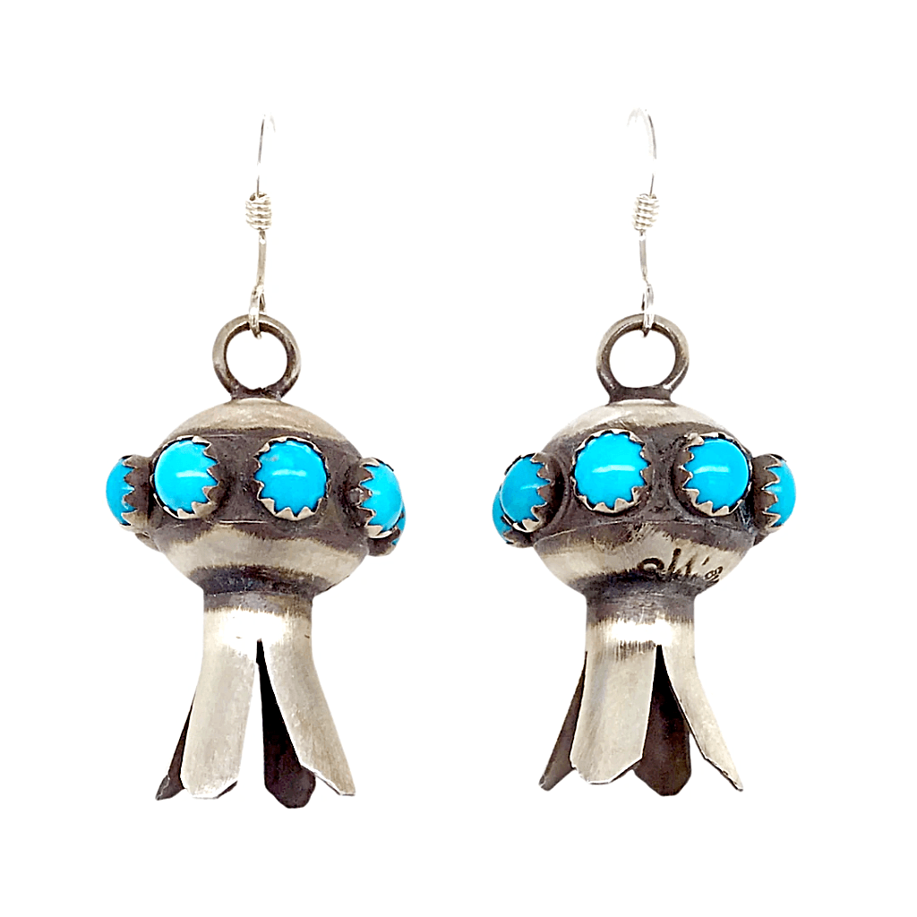 Native American Earrings - French Hook Navajo Turquoise Blossom Earrings
