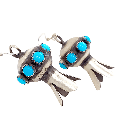 Image of Native American Earrings - French Hook Navajo Turquoise Blossom Earrings