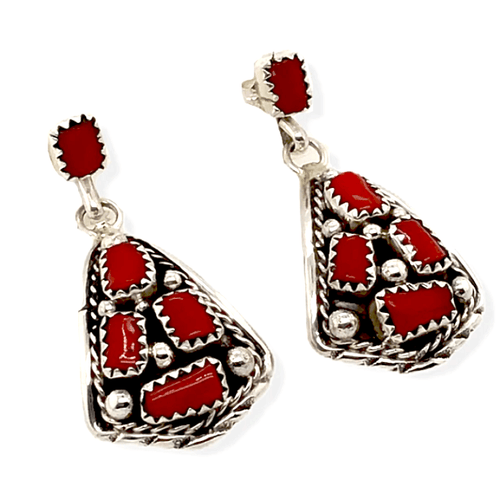 Native American Earrings - Handcrafted Navajo Coral Cluster Post Earrings