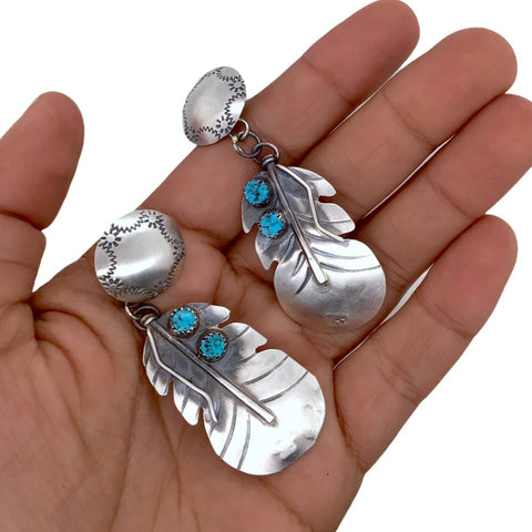 Image of Native American Earrings - Large Navajo Feather Concho Kingman Turquoise Sterling Silver Earrings - Native American