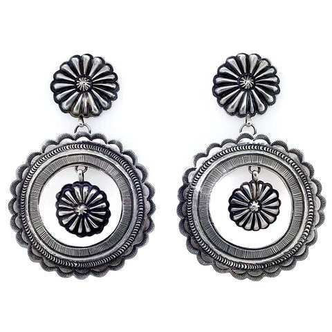 Image of Native American Earrings - Large Navajo Fine Hand Stamped Sterling Silver Circle Dangle Earrings - Eugene Charley