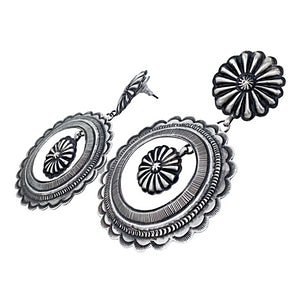 Native American Earrings - Large Navajo Fine Hand Stamped Sterling Silver Circle Dangle Earrings - Eugene Charley