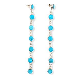 Native American Earrings - Long Dangling Turquoise And Sterling Silver Earrings
