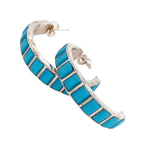 Image of Native American Earrings - Medium Zuni Sleeping Beauty Turquoise Sterling Silver Hoop Earrings
