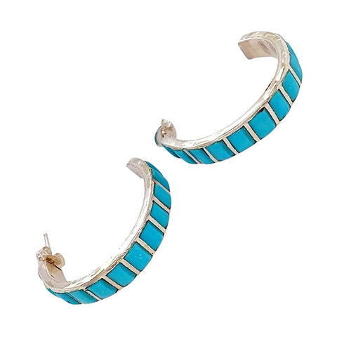 Native American Earrings - Medium Zuni Sleeping Beauty Turquoise Sterling Silver Hoop Earrings