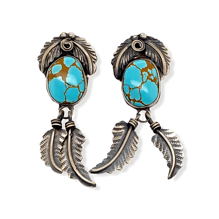 Native American Earrings - Navajo #8 Turquoise Earrings With Hand-Stamped Feather Details