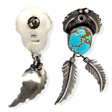 Load image into Gallery viewer, Native American Earrings - Navajo #8 Turquoise Earrings With Hand-Stamped Feather Details